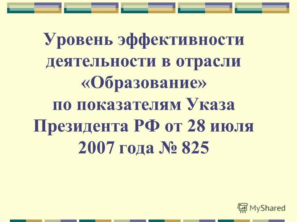 Уровень эффективности деятельности в отрасли «Образование» по показателям Указа Президента РФ от 28 июля 2007 года 825