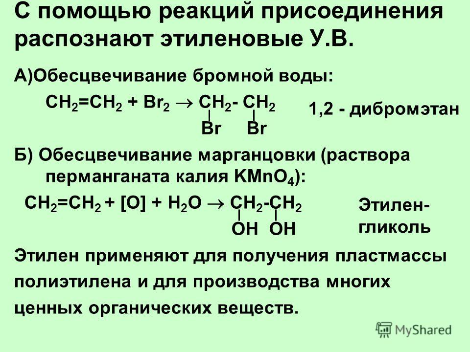 С помощью реакций присоединения распознают этиленовые У.В. А)Обесцвечивание бромной воды: СН 2 =СН 2 + Br 2 CН 2 - СН 2 Br Br Б) Обесцвечивание марганцовки (раствора перманганата калия KMnO 4 ): СН 2 =СН 2 + [O] + Н 2 О СН 2 -СН 2 ОН ОН Этилен примен