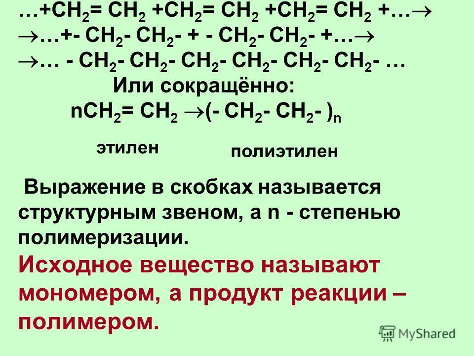 …+СН 2 = СН 2 +СН 2 = СН 2 +СН 2 = СН 2 +… …+- СН 2 - СН 2 - + - СН 2 - СН 2 - +… … - СН 2 - СН 2 - СН 2 - СН 2 - СН 2 - СН 2 - … Или сокращённо: nСН 2 = СН 2 (- СН 2 - СН 2 - ) n Выражение в скобках называется структурным звеном, а n - степенью поли