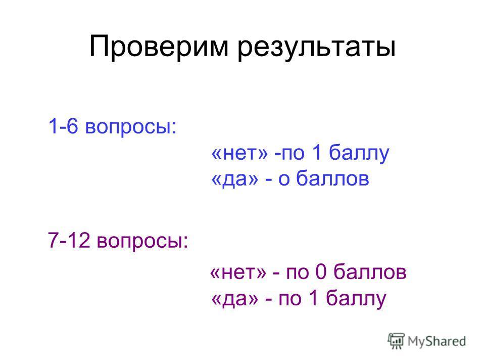 Проверим результаты 1-6 вопросы: «нет» -по 1 баллу «да» - о баллов 7-12 вопросы: «нет» - по 0 баллов «да» - по 1 баллу