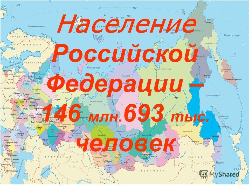 Население Российской Федерации – 146 млн. 693 тыс. человек