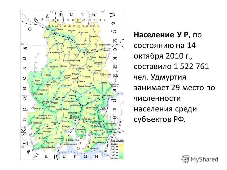 Население У Р, по состоянию на 14 октября 2010 г., составило 1 522 761 чел. Удмуртия занимает 29 место по численности населения среди субъектов РФ.
