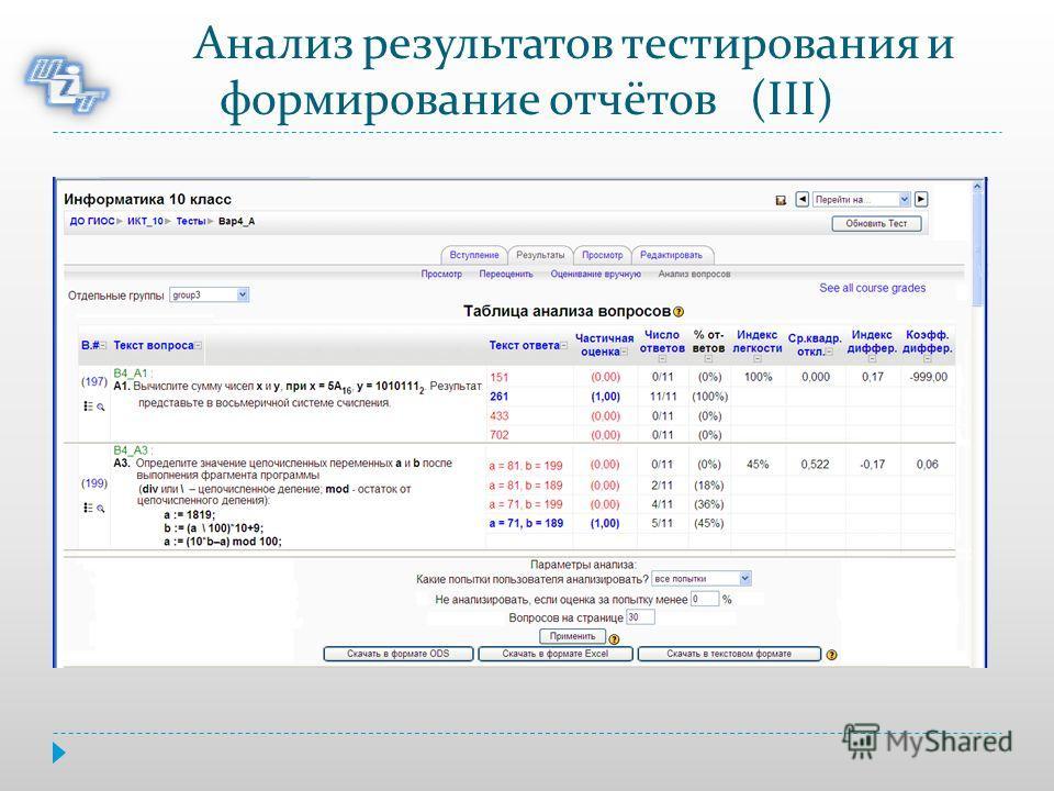 Анализ результатов тестирования и формирование отчётов (III)