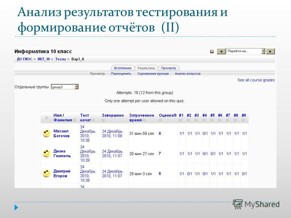 Анализ результатов тестирования и формирование отчётов (II)
