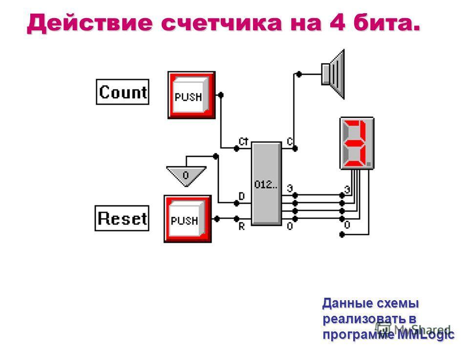 Действие счетчика на 4 бита. Данные схемы реализовать в программе MMLogic