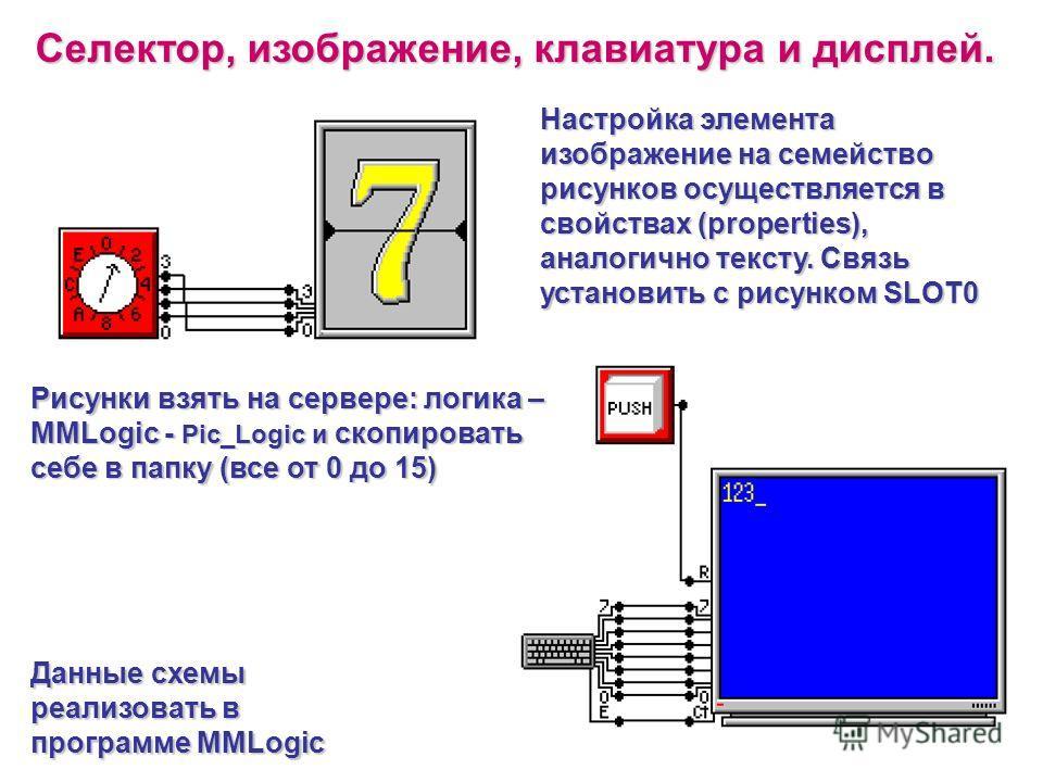 Селектор, изображение, клавиатура и дисплей. Данные схемы реализовать в программе MMLogic Рисунки взять на сервере: логика – MMLogic - Pic_Logic и скопировать себе в папку (все от 0 до 15) Настройка элемента изображение на семейство рисунков осуществ
