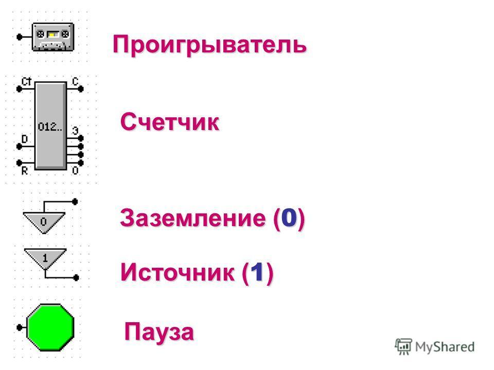 Проигрыватель Счетчик Источник ( 1 ) Заземление ( 0 ) Пауза