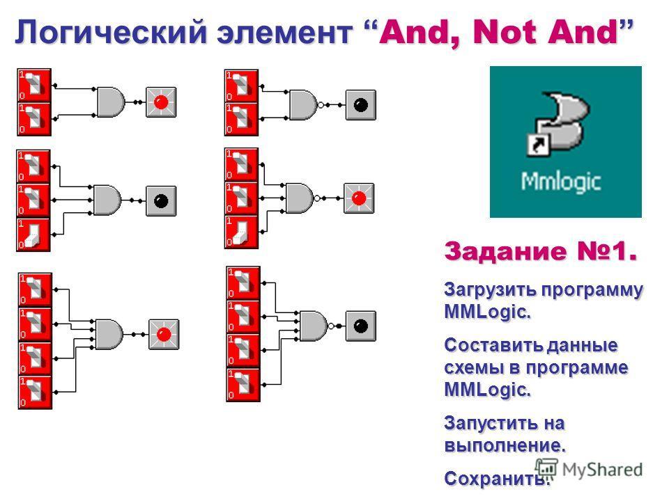 Логический элемент And, Not And Логический элемент And, Not And Задание 1. Загрузить программу MMLogic. Составить данные схемы в программе MMLogic. Запустить на выполнение. Сохранить.