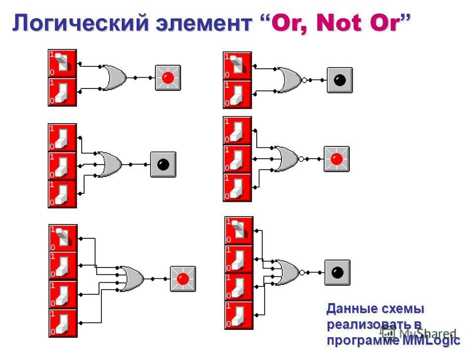 Логический элемент Or, Not Or Логический элемент Or, Not Or Данные схемы реализовать в программе MMLogic