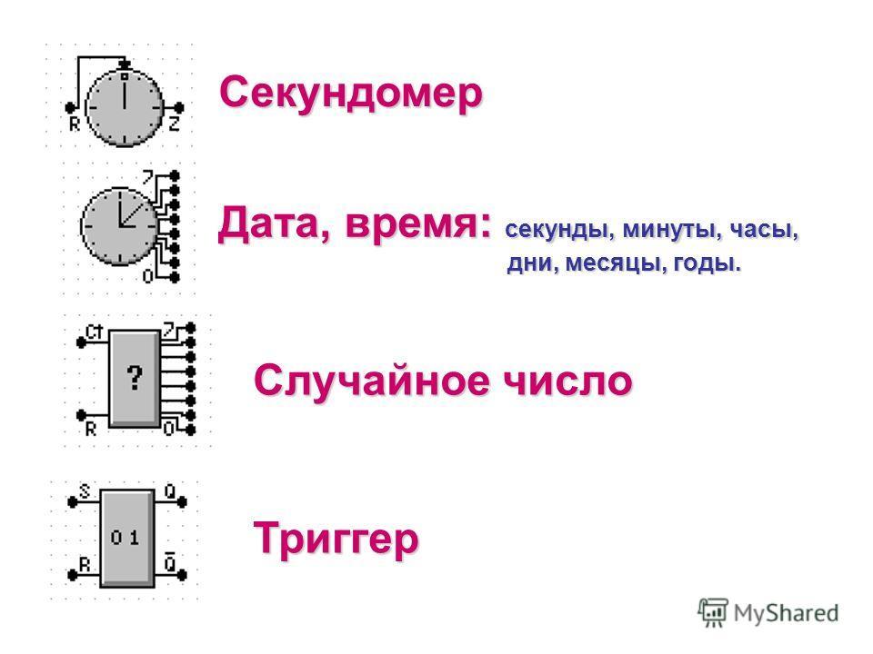 Секундомер Дата, время: секунды, минуты, часы, дни, месяцы, годы. Случайное число Триггер