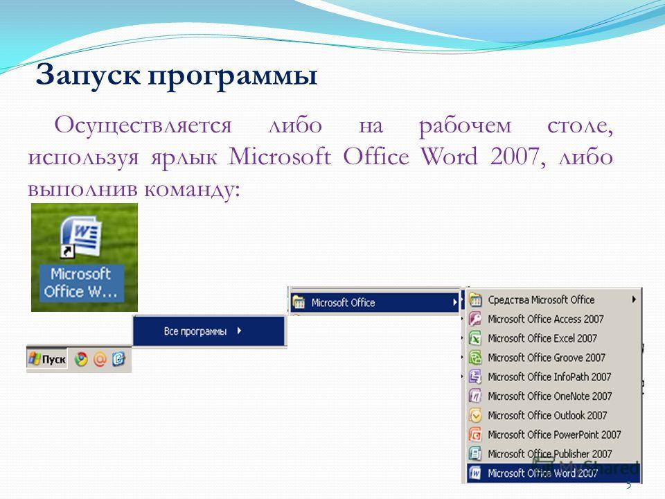 Запуск программы Осуществляется либо на рабочем столе, используя ярлык Microsoft Office Word 2007, либо выполнив команду: 5