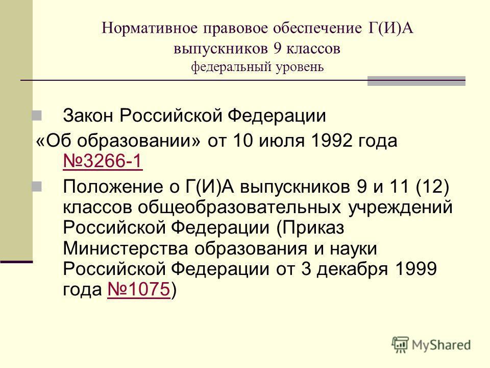 Нормативное правовое обеспечение Г(И)А выпускников 9 классов федеральный уровень Закон Российской Федерации «Об образовании» от 10 июля 1992 года 3266-1 3266-1 Положение о Г(И)А выпускников 9 и 11 (12) классов общеобразовательных учреждений Российско
