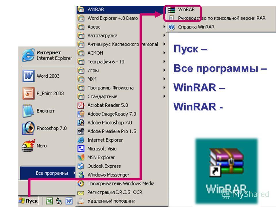Пуск – Все программы – WinRAR – WinRAR -
