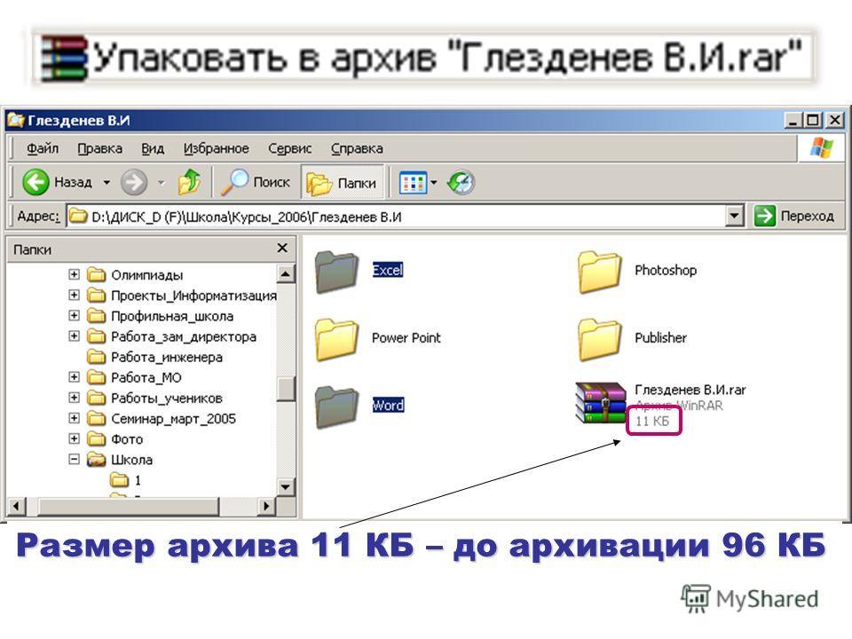 Размер архива 11 КБ – до архивации 96 КБ