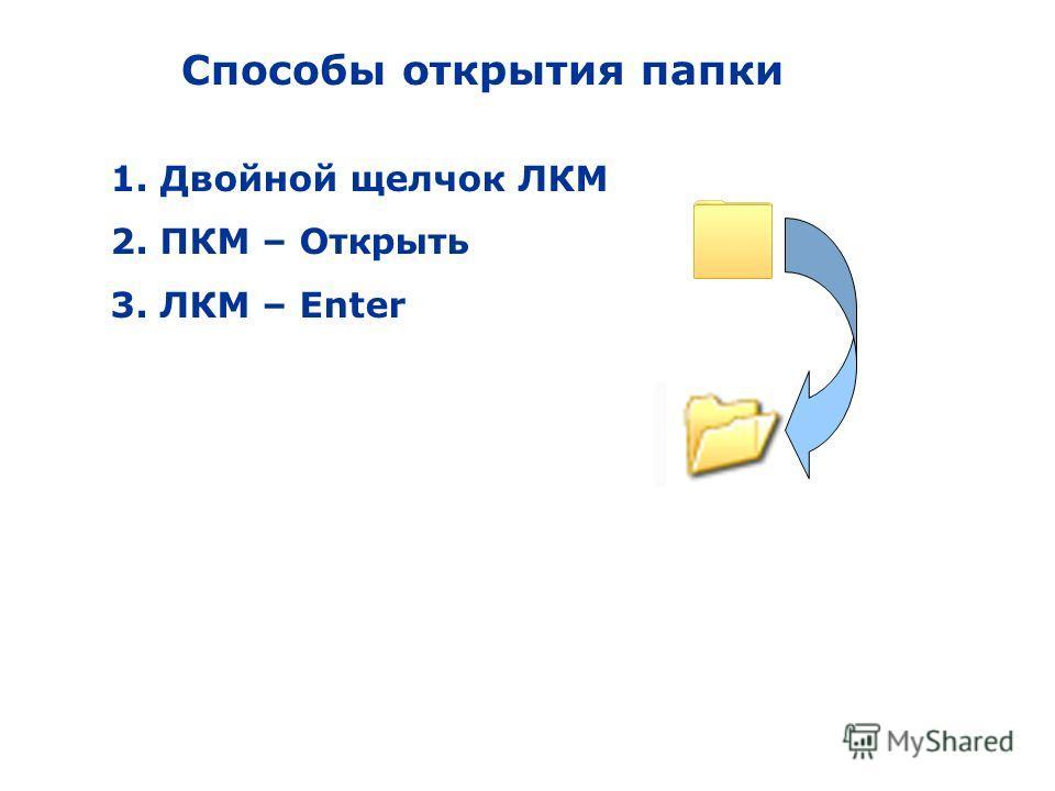 Способы открытия папки 1. Двойной щелчок ЛКМ 2. ПКМ – Открыть 3. ЛКМ – Enter
