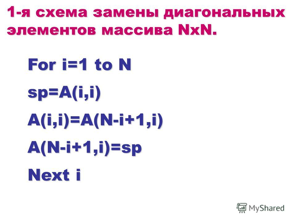For i=1 to N sp=A(i,i)A(i,i)=A(N-i+1,i)A(N-i+1,i)=sp Next i