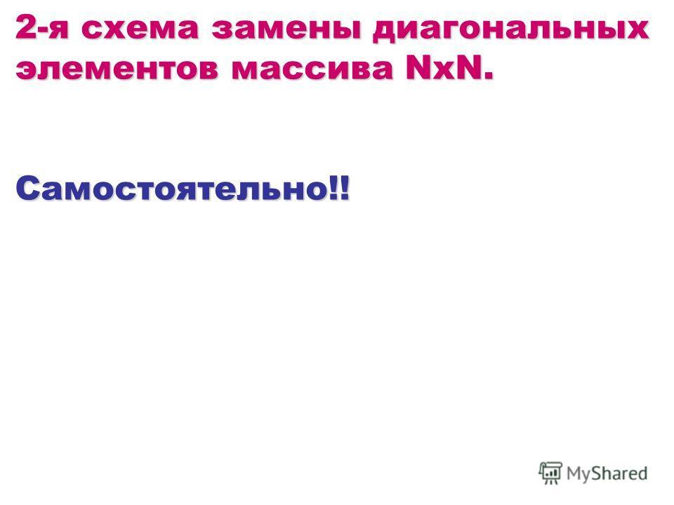 2-я схема замены диагональных элементов массива NxN. Самостоятельно!!