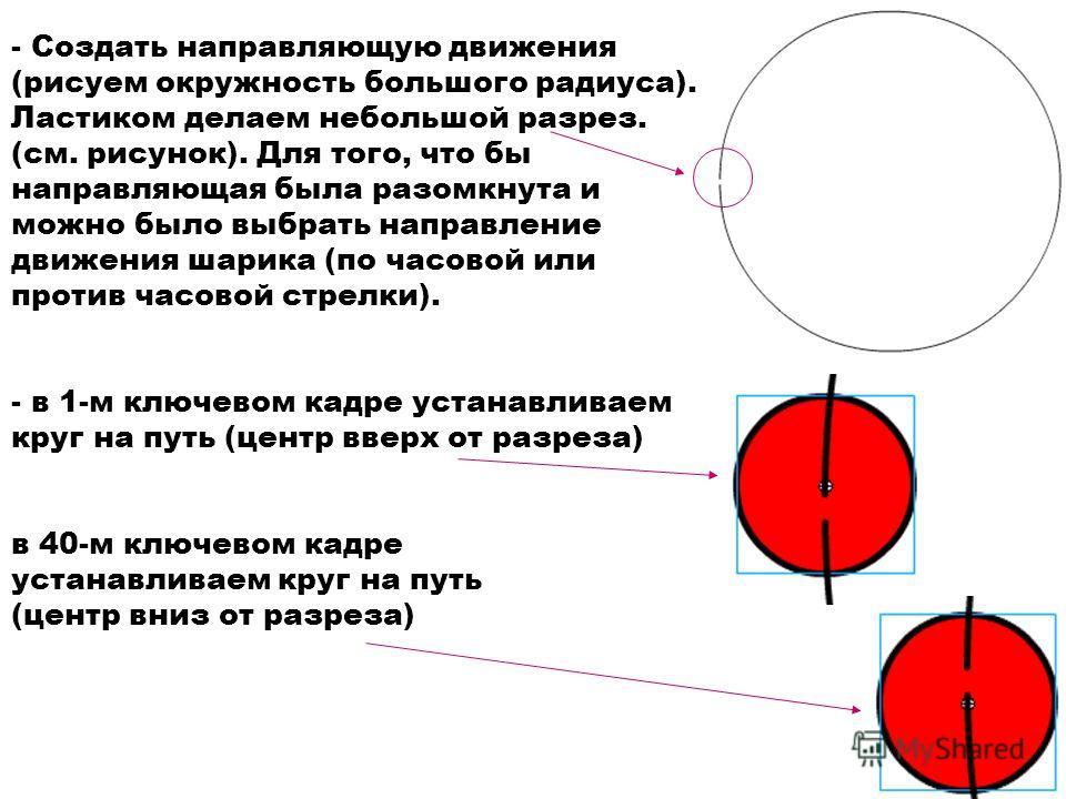 - Создать направляющую движения (рисуем окружность большого радиуса). Ластиком делаем небольшой разрез. (см. рисунок). Для того, что бы направляющая была разомкнута и можно было выбрать направление движения шарика (по часовой или против часовой стрел
