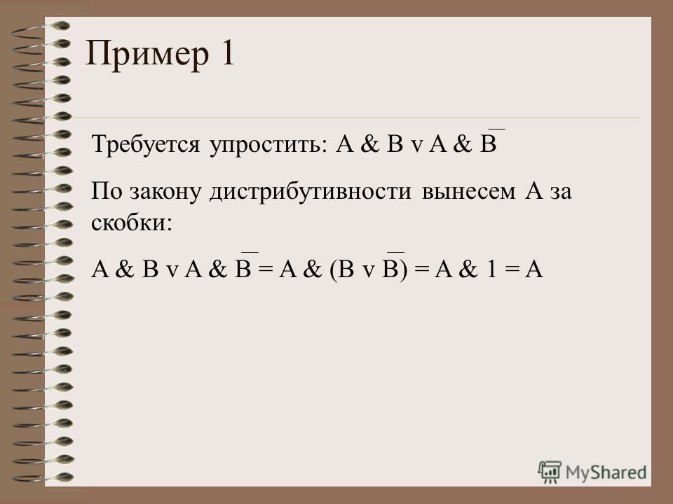 Пример 1 Требуется упростить: A & B v A & B По закону дистрибутивности вынесем А за скобки: A & B v A & B = A & (B v B) = A & 1 = A