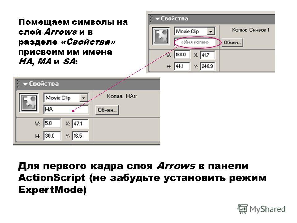 Помещаем символы на слой Arrows и в разделе «Свойства» присвоим им имена HA, MA и SA: Для первого кадра слоя Arrows в панели ActionScript (не забудьте установить режим ExpertMode)