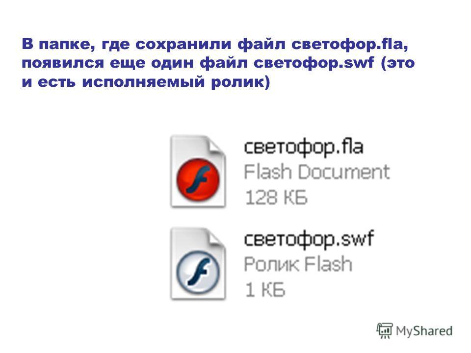 В папке, где сохранили файл светофор.fla, появился еще один файл светофор.swf (это и есть исполняемый ролик)