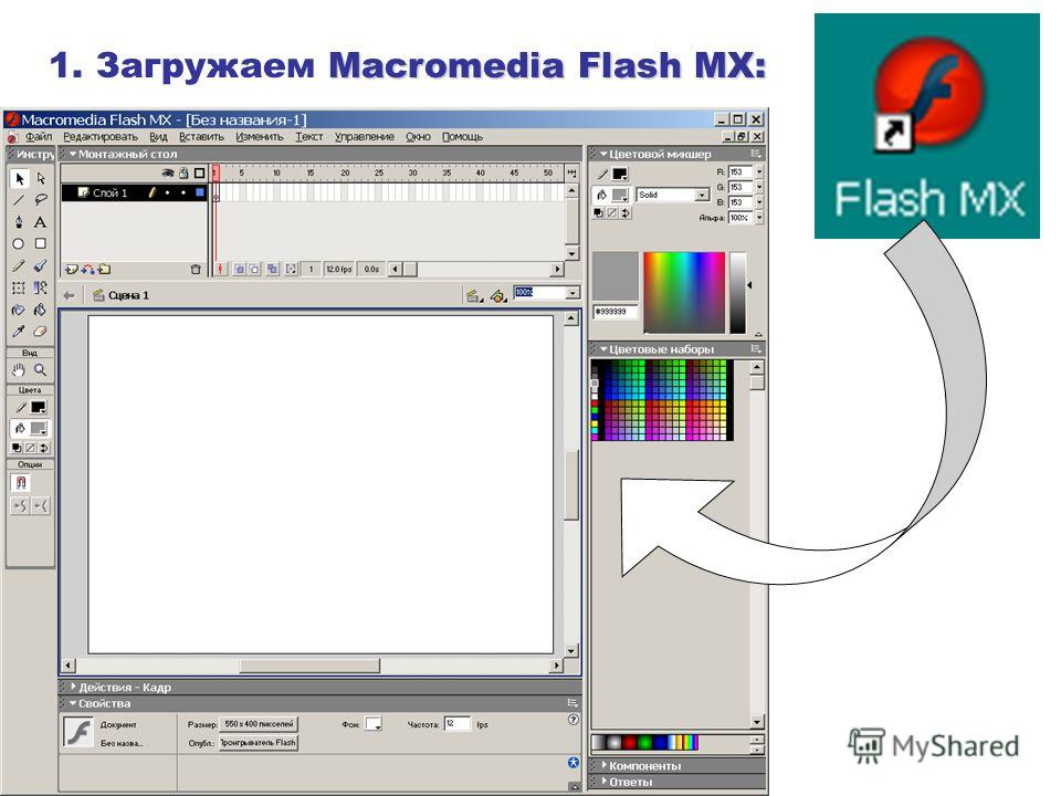 Macromedia Flash MX: 1. Загружаем Macromedia Flash MX: