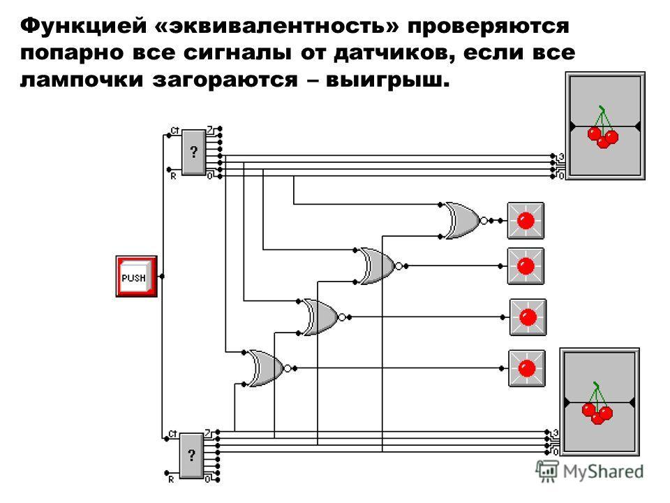 Функцией «эквивалентность» проверяются попарно все сигналы от датчиков, если все лампочки загораются – выигрыш.