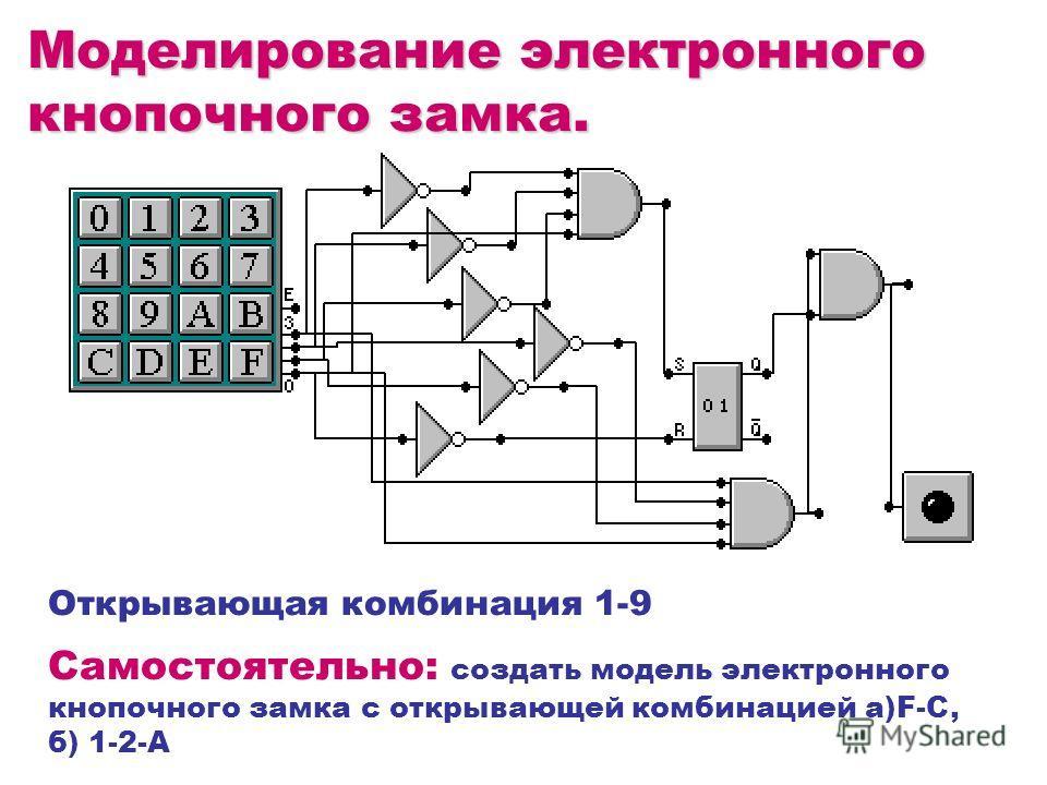 Моделирование электронного кнопочного замка. Открывающая комбинация 1-9 Самостоятельно: создать модель электронного кнопочного замка с открывающей комбинацией а)F-C, б) 1-2-А