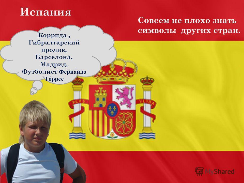 Коррида, Гибралтарский пролив, Барселона, Мадрид, Футболист Фернандо Торрес Испания Совсем не плохо знать символы других стран.
