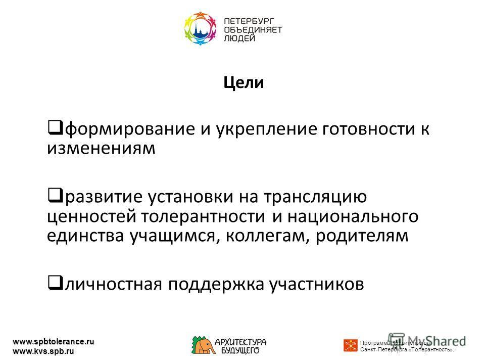 Цели формирование и укрепление готовности к изменениям развитие установки на трансляцию ценностей толерантности и национального единства учащимся, коллегам, родителям личностная поддержка участников Программа Правительства Санкт-Петербурга «Толерантн