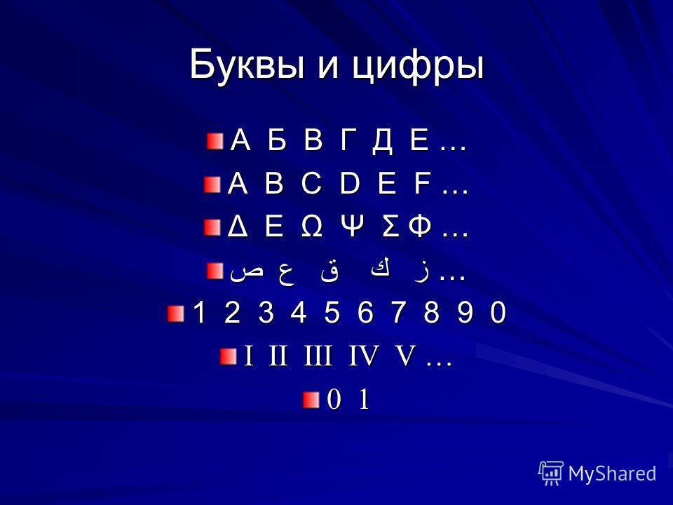 Буквы и цифры А Б В Г Д Е … A B C D E F … Δ Ε Ω Ψ Σ Φ … ص ع ق ك ز … 1 2 3 4 5 6 7 8 9 0 I II III IV V … 0 1