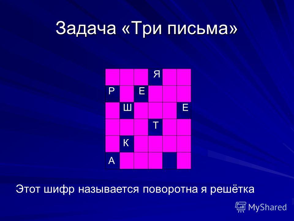 Задача «Три письма» Э А П Я Т З Р О Е Т Ы О В Ш В О Ш Е А Р И Т Е Ф Р К О Т Т С А Н Я Н А Этот шифр называется поворотная решётка