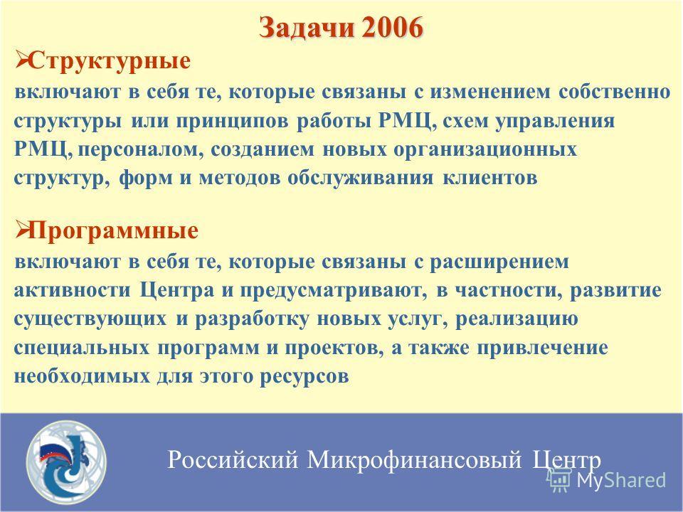 Российский Микрофинансовый Центр Структурные включают в себя те, которые связаны с изменением собственно структуры или принципов работы РМЦ, схем управления РМЦ, персоналом, созданием новых организационных структур, форм и методов обслуживания клиент