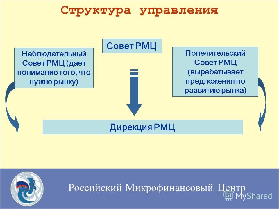 Российский Микрофинансовый Центр Структура управления Наблюдательный Совет РМЦ (дает понимание того, что нужно рынку) Попечительский Совет РМЦ (вырабатывает предложения по развитию рынка) Дирекция РМЦ Совет РМЦ