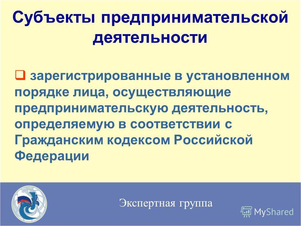 Экспертная группа Субъекты предпринимательской деятельности зарегистрированные в установленном порядке лица, осуществляющие предпринимательскую деятельность, определяемую в соответствии с Гражданским кодексом Российской Федерации