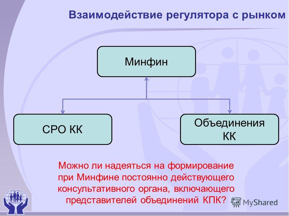 Взаимодействие регулятора с рынком Минфин СРО КК Объединения КК Можно ли надеяться на формирование при Минфине постоянно действующего консультативного органа, включающего представителей объединений КПК?