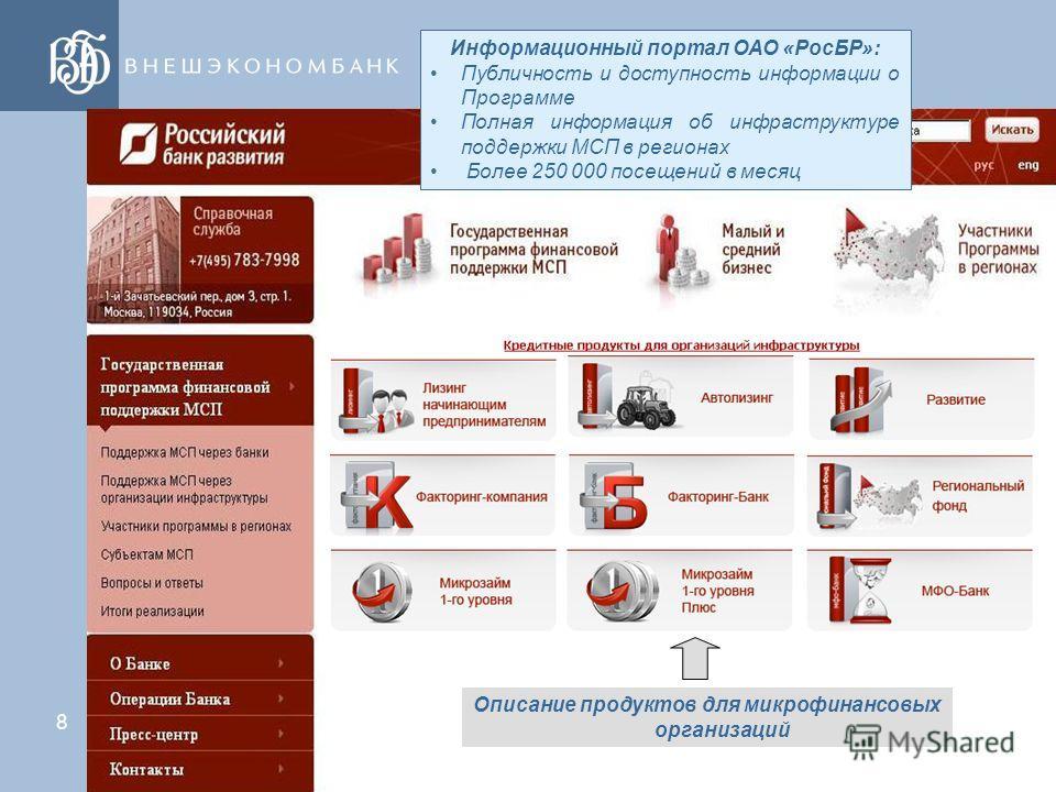 7 Развитие Программы ОАО «РосБР» по Направлению «Микрофинансирование» Увеличение количества партнеров ОАО «РосБР» - микрофинансовых организаций Увеличение количества регионов РФ, в которых осуществляется финансирование микрофинансовых организаций – п