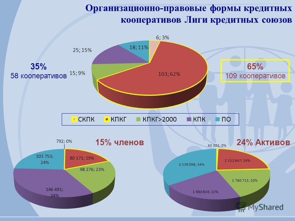 Организационно-правовые формы кредитных кооперативов Лиги кредитных союзов 35% 58 кооперативов 65% 109 кооперативов 15% членов24% Активов