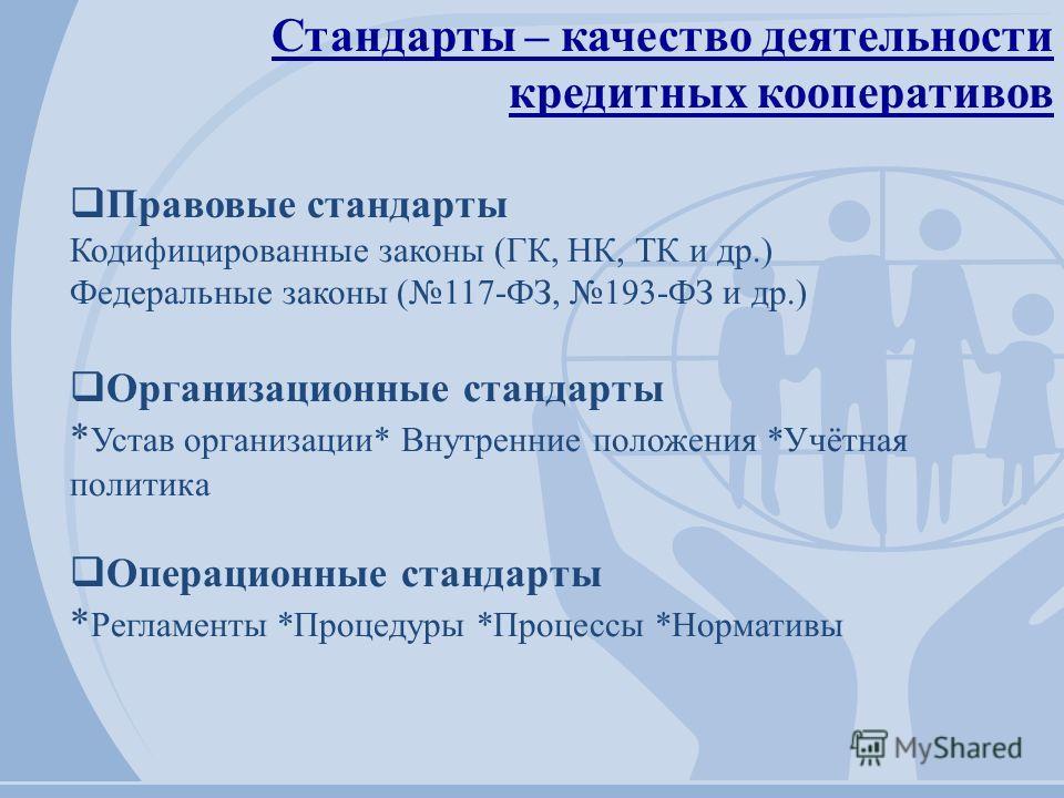 Стандарты – качество деятельности кредитных кооперативов Правовые стандарты Кодифицированные законы (ГК, НК, ТК и др.) Федеральные законы (117-ФЗ, 193-ФЗ и др.) Организационные стандарты * Устав организации* Внутренние положения *Учётная политика Опе