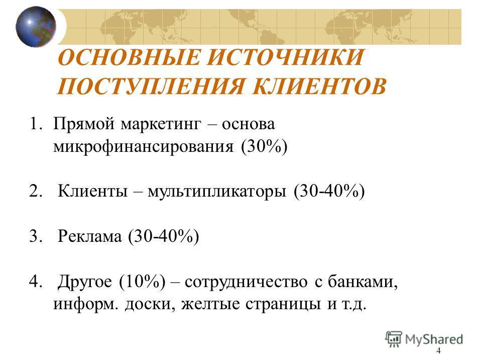 4 ОСНОВНЫЕ ИСТОЧНИКИ ПОСТУПЛЕНИЯ КЛИЕНТОВ 1.Прямой маркетинг – основа микрофинансирования (30%) 2. Клиенты – мультипликаторы (30-40%) 3. Реклама (30-40%) 4. Другое (10%) – сотрудничество с банками, информ. доски, желтые страницы и т.д.