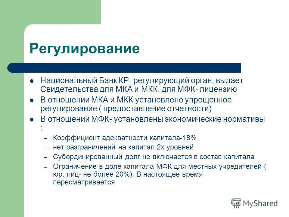 Регулирование Национальный Банк КР- регулирующий орган, выдает Свидетельства для МКА и МКК, для МФК- лицензию В отношении МКА и МКК установлено упрощенное регулирование ( предоставление отчетности) В отношении МФК- установлены экономические нормативы