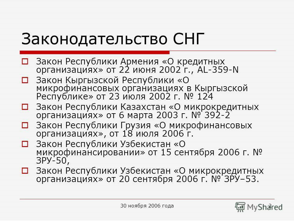 30 ноября 2006 года2 Законодательство СНГ Закон Республики Армения «О кредитных организациях» от 22 июня 2002 г., AL-359-N Закон Кыргызской Республики «О микрофинансовых организациях в Кыргызской Республике» от 23 июля 2002 г. 124 Закон Республики Ка