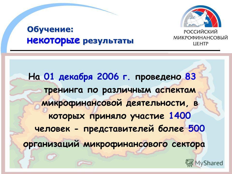 Обучение: некоторые результаты На 01 декабря 2006 г. проведено 83 тренинга по различным аспектам микрофинансовой деятельности, в которых приняло участие 1400 человек - представителей более 500 организаций микрофинансового сектора