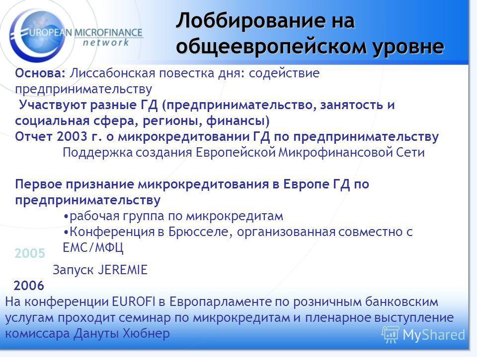 Лоббирование на общеевропейском уровне Основа: Лиссабонская повестка дня: содействие предпринимательству Участвуют разные ГД (предпринимательство, занятость и социальная сфера, регионы, финансы) Отчет 2003 г. о микрокредитовании ГД по предприниматель