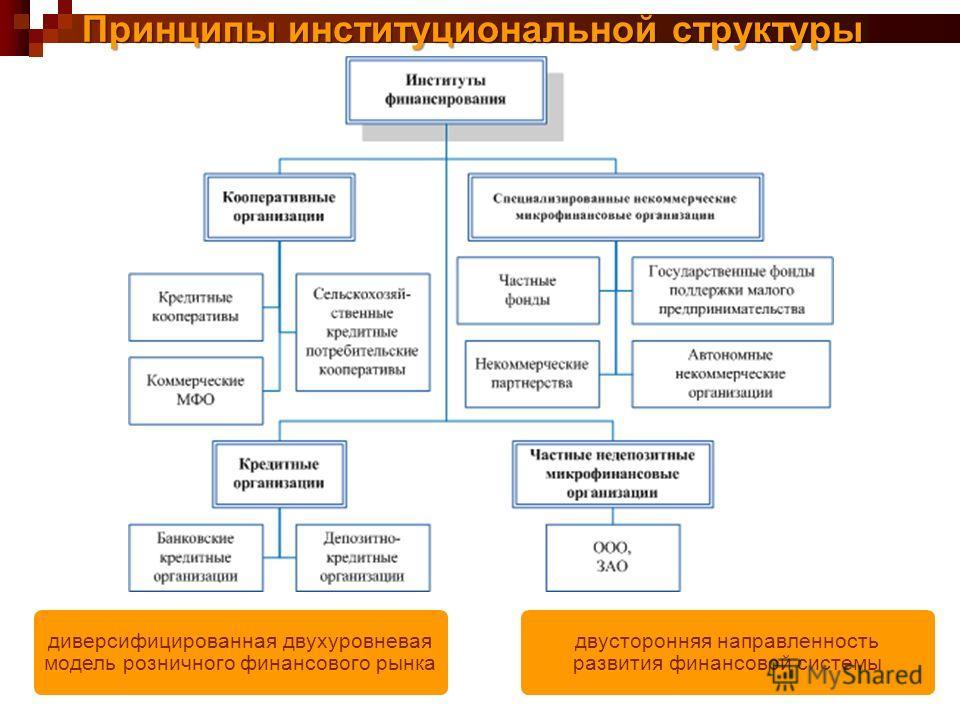 Принципы институциональной структуры диверсифицированная двухуровневая модель розничного финансового рынка двусторонняя направленность развития финансовой системы