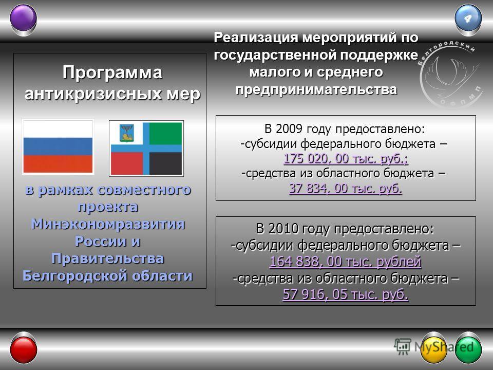 4 Программа антикризисных мер в рамках совместного проекта Минэкономразвития России и Правительства Белгородской области В 2009 году предоставлено: -субсидии федерального бюджета – 175 020, 00 тыс. руб.; -средства из областного бюджета – 37 834, 00 т