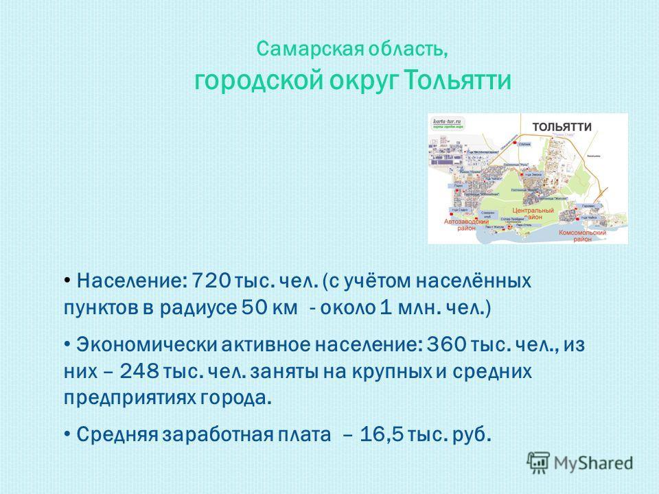 Самарская область, городской округ Тольятти Население: 720 тыс. чел. (с учётом населённых пунктов в радиусе 50 км - около 1 млн. чел.) Экономически активное население: 360 тыс. чел., из них – 248 тыс. чел. заняты на крупных и средних предприятиях гор