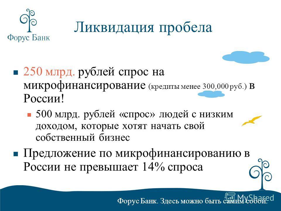 Форус Банк. Здесь можно быть самим собой. Ликвидация пробела 250 млрд. рублей спрос на микрофинансирование (кредиты менее 300,000 руб.) в России! 500 млрд. рублей «спрос» людей с низким доходом, которые хотят начать свой собственный бизнес Предложени