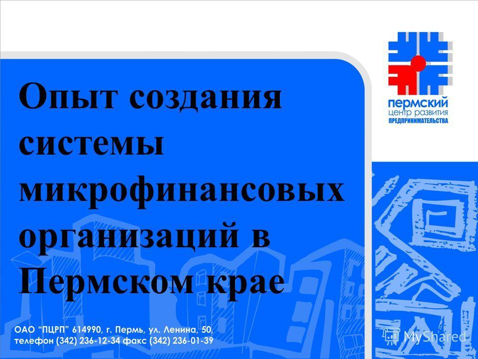 Опыт создания системы микрофинансовых организаций в Пермском крае