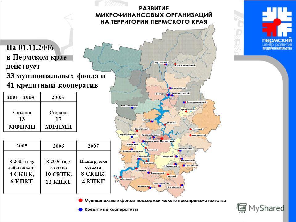 В 2006 году в Пермском крае создано 19 СКПК, 12 КПКГ На 01.11.2006 в Пермском крае действует 33 муниципальных фонда и 41 кредитный кооператив 2001 – 2004г2005г Создано 13 МФПМП Создано 17 МФПМП 2005 20062007 В 2005 году действовало 4 СКПК, 6 КПКГ В 2